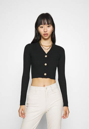 CROPPED BUTTON - Cardigan - black