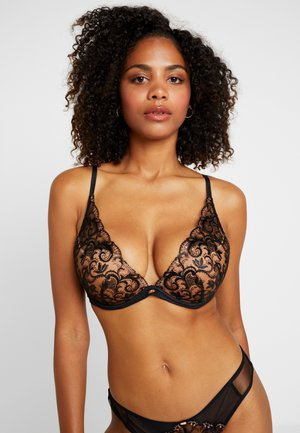 VIP BIJOUX PADDED PLUNGE BRA - Push-up bra - black/bronze
