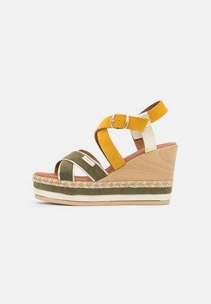 BULLE - Platform sandals - kaki/jaune