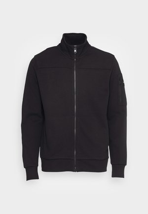 TEXTURE BLOCK ZIP JACKET - Zip-up sweatshirt - black