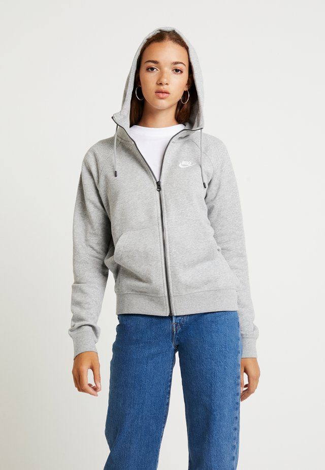 Zip-up hoodie - grey heather/white