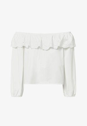 OFF-THE-SHOULDER BRODERIE ANGLAISE TOP - Top - white