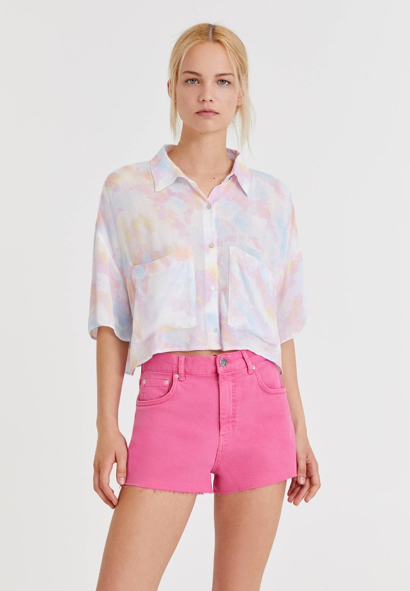 PULL&BEAR - MIT TIE-DYE - Button-down blouse - white