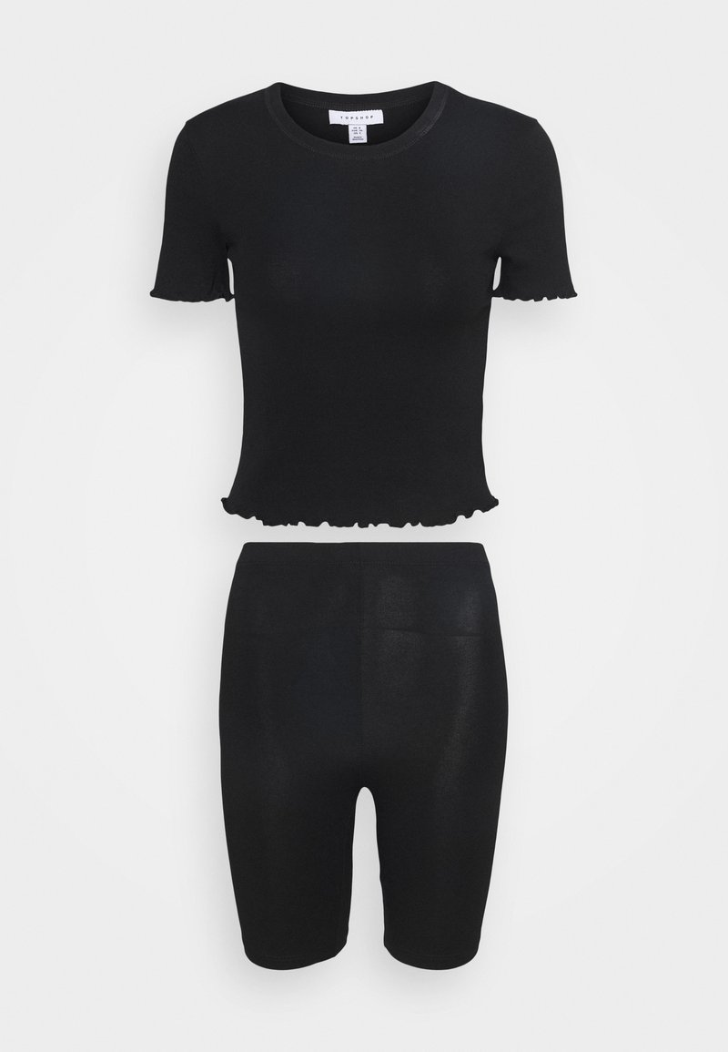 Topshop - TEE AND CYCLE SET - T-shirt con stampa - black