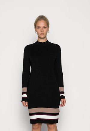 KNEE REGULAR FIT STRIPES DRESS - Gebreide jurk - black/brown/white
