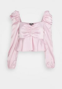 Missguided Petite - PUFF SLEEVE RUCHED FRONT PEPLUM - Long sleeved top - pink - 0