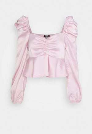 PUFF SLEEVE RUCHED FRONT PEPLUM - Long sleeved top - pink