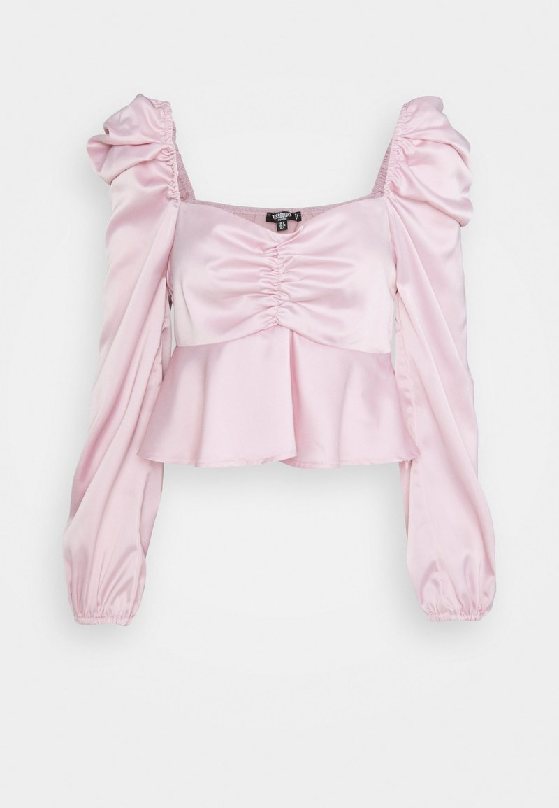 Missguided Petite - PUFF SLEEVE RUCHED FRONT PEPLUM - Long sleeved top - pink