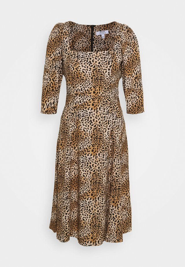 ANIMAL SQUARE NECK MIDI DRESS - Day dress - brown