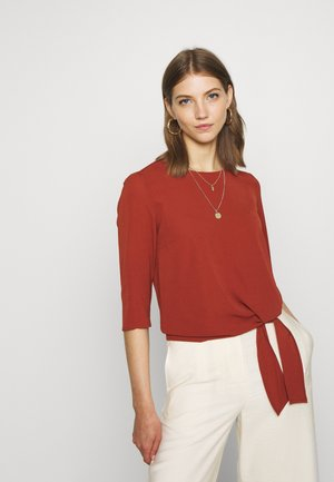 ONLNOVA LUX KNOT SOLID - Blouse - brown