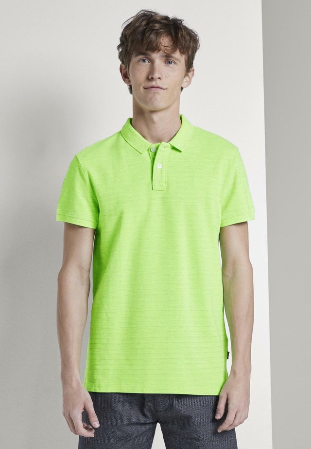 MIT STICKEREI - Polo - neon green white melange