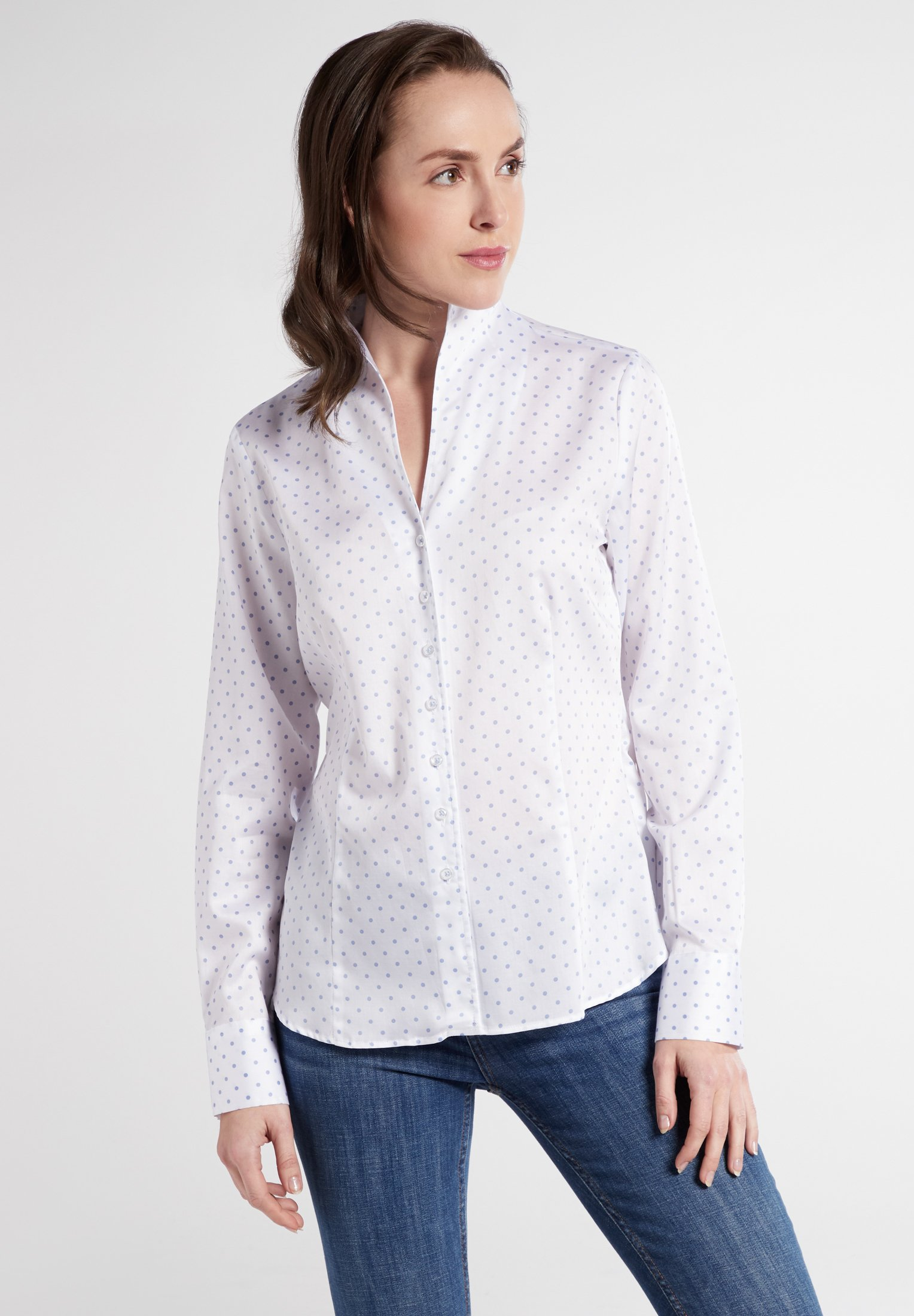Eterna LONG SLEEVE - Overhemdblouse - white/light blue - Dameskleding AAA-kwaliteit