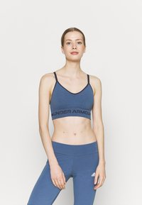 Under Armour - SEAMLESS LOW LONG BRA - Light support sports bra - mineral blue - 0