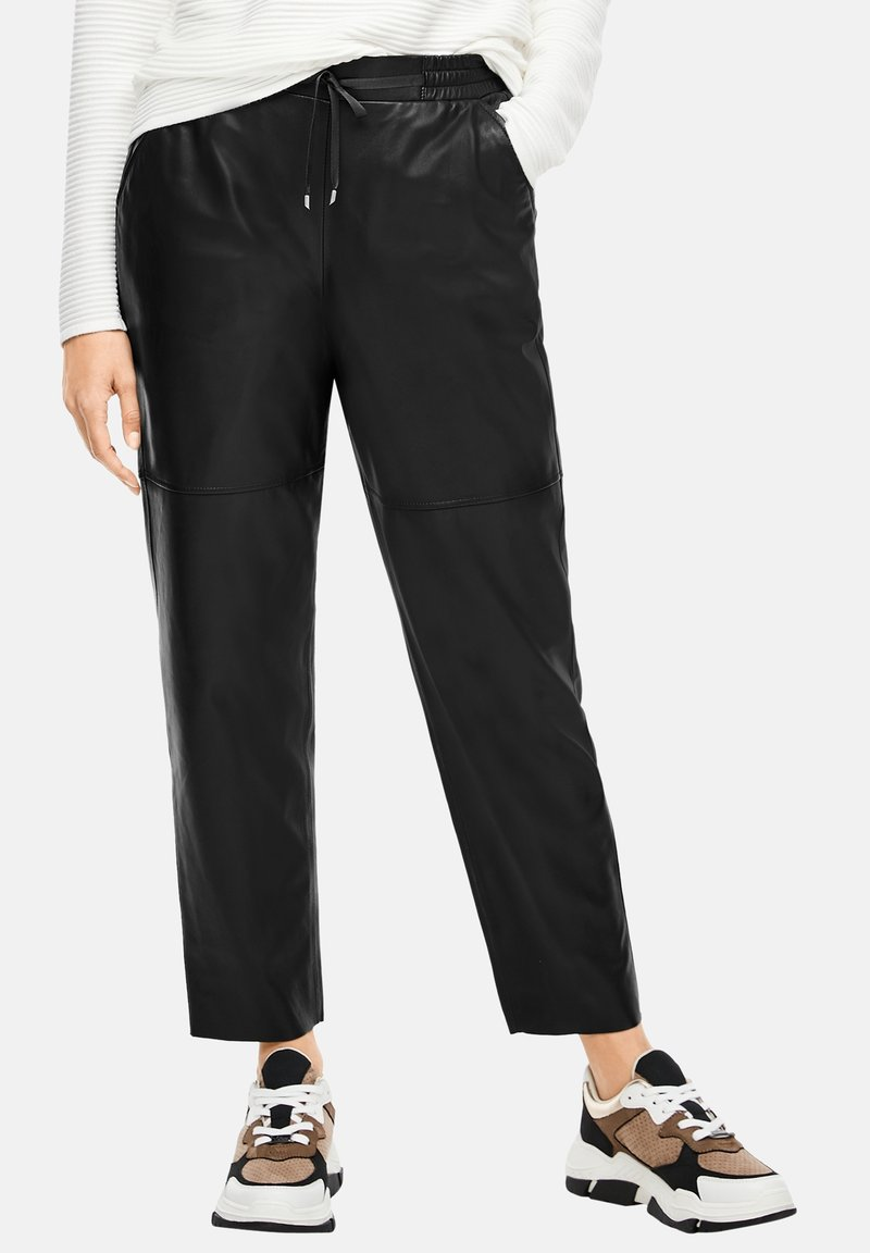 s.Oliver BLACK LABEL - Leather trousers - black