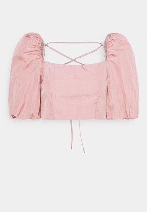 PUFF SLEEVE TIE BACK DETAIL CROP - T-shirt med print - pink