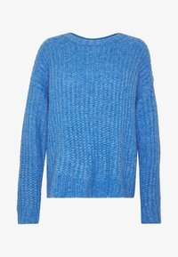 SLOUCHY CROPPED CABLE - Jumper - blue