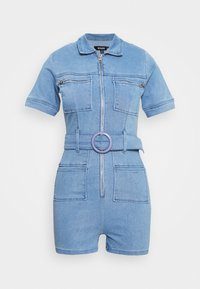 Missguided - SELF BELTED PLAYSUIT - Overall / Jumpsuit /Buksedragter - light wash - 4