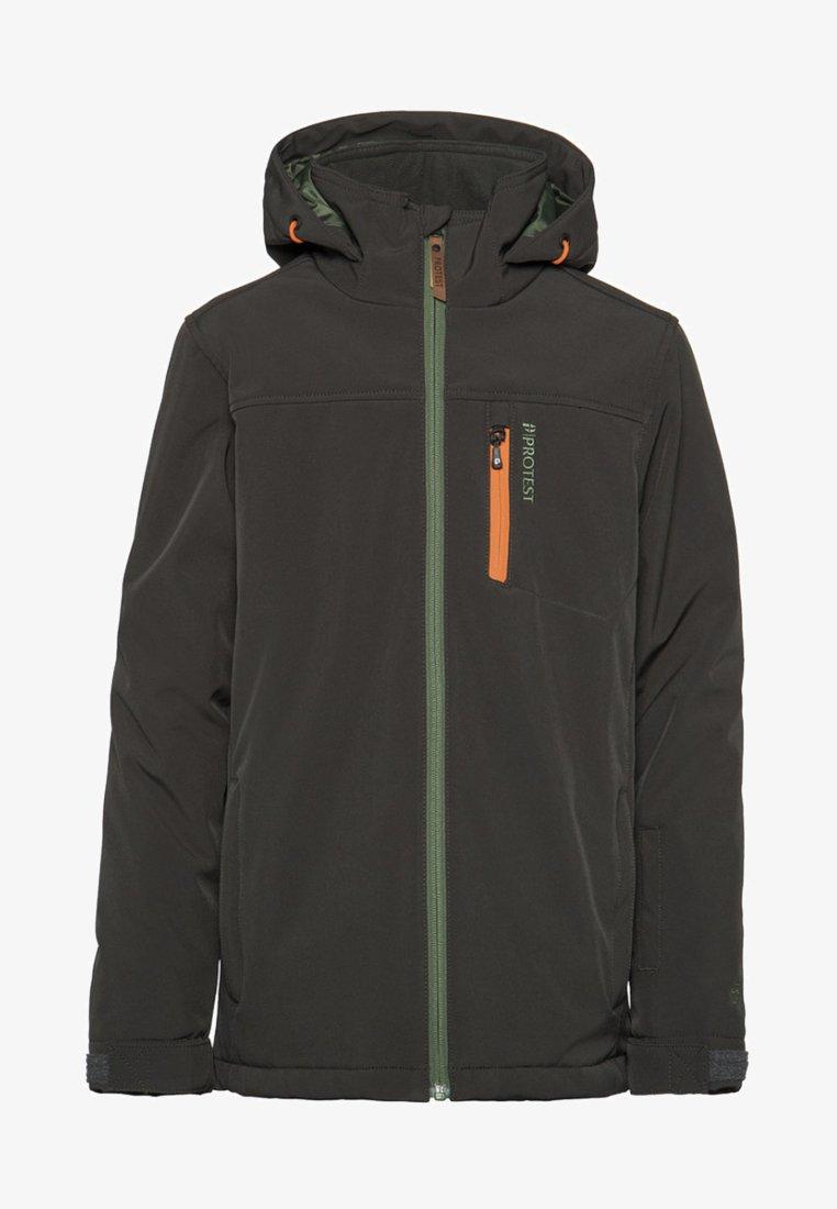 Protest - Snowboard jacket - dark green/mottled dark green/orange