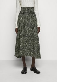 Proenza Schouler White Label - PRINTED TIE WAIST SKIRT - A-line skirt - black/spanish moss - 0