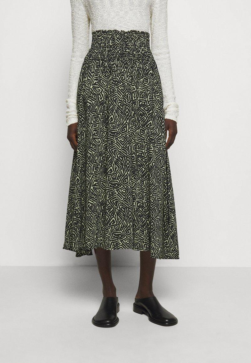 Proenza Schouler White Label - PRINTED TIE WAIST SKIRT - A-line skirt - black/spanish moss