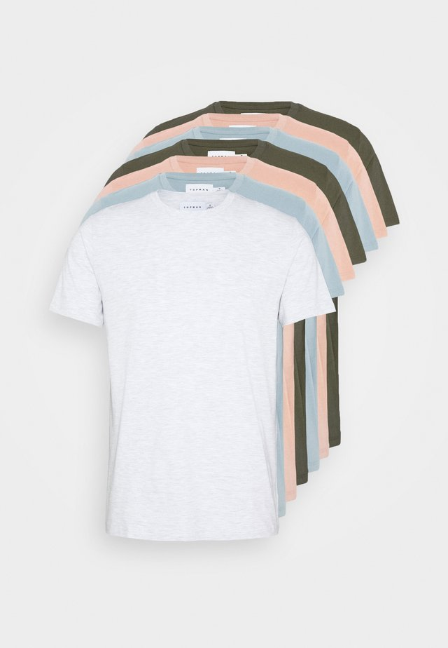 7 PACK - Basic T-shirt - mottled grey/khaki/blue