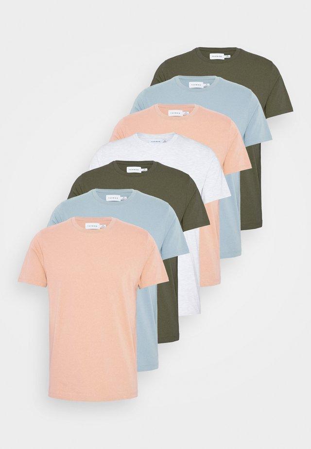 7 PACK - Basic T-shirt - mottled grey/khaki/blue