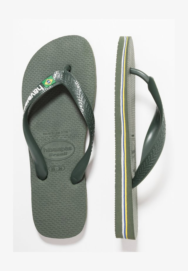 BRASIL LOGO - Teenslippers - green olive
