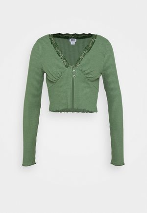 VNECK LACE CARDIGAN TOP - Strikjakke /Cardigans - green