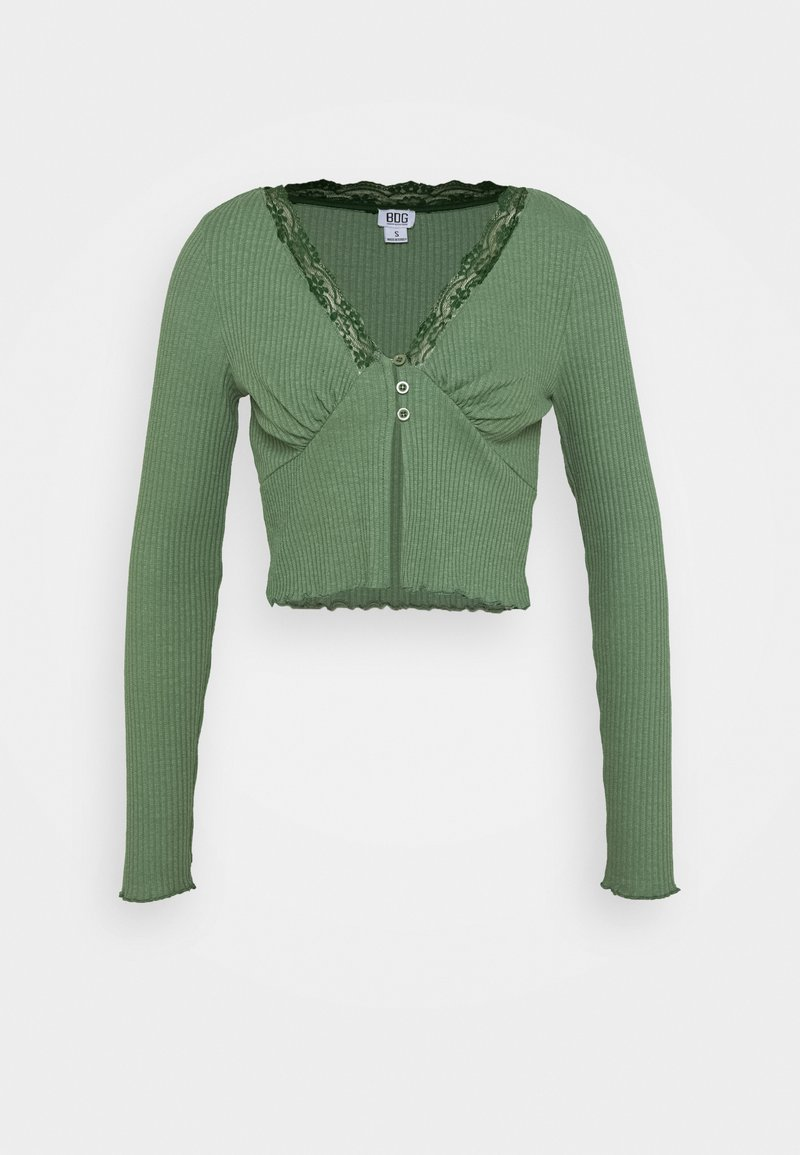 BDG Urban Outfitters - VNECK LACE CARDIGAN TOP - Cardigan - green