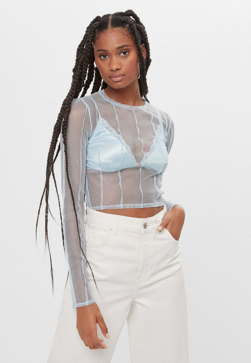 Bershka - Long sleeved top - light blue