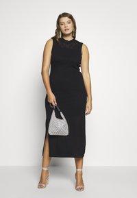 Lost Ink Plus - HIGH NECK MULTI COLUMN DRESS - Vestido de punto - black - 2