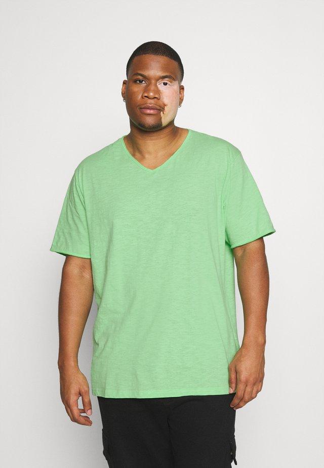RAW VNECK SLUB TEE - Jednoduché triko - green