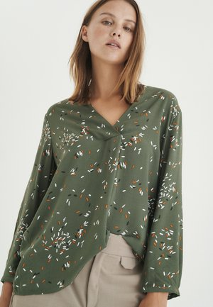 Long sleeved top - beetle green springels