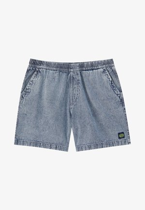 MIT GESTICKTEM ETIKETT - Denim shorts - royal blue