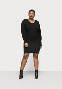 Pieces Curve - PCPAM V-NECK DRESS - Jumper - black - 0