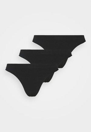 SEAMLESS HIGH CUT BRASILIANO 3 PACK - Thong - black