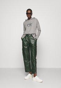 Calvin Klein - RHINESTONE LOGO HOODIE - Sweatshirt - mid grey heather - 1