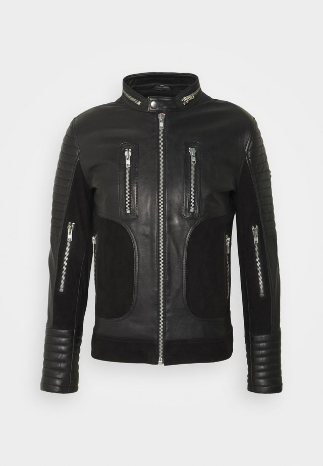 FIGHTER - Veste en cuir - black
