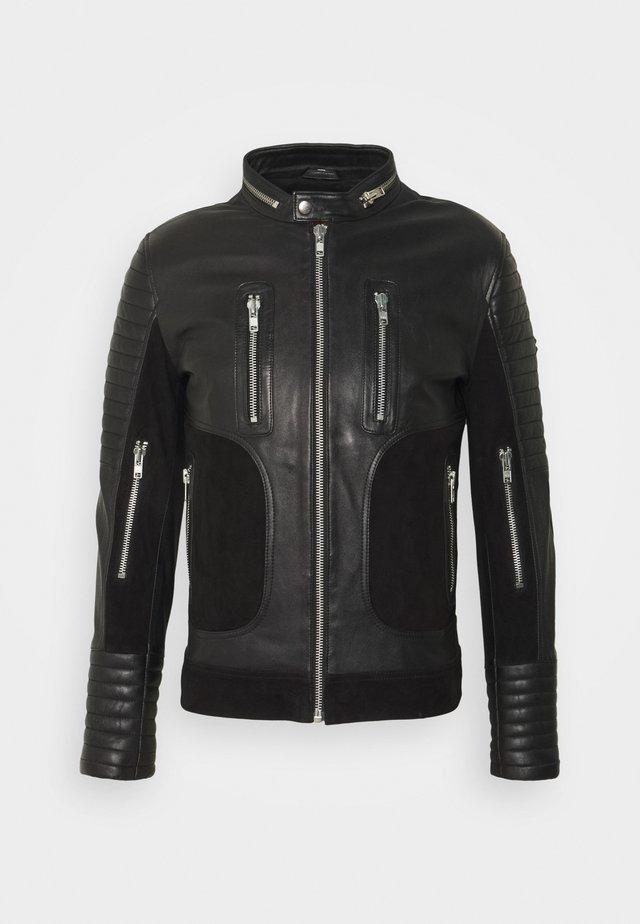 FIGHTER - Leather jacket - black