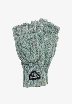 GRACIE - Fingerless gloves - sea blue tweed