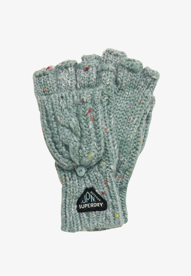 GRACIE - Fingerless gloves - sea blue tweed