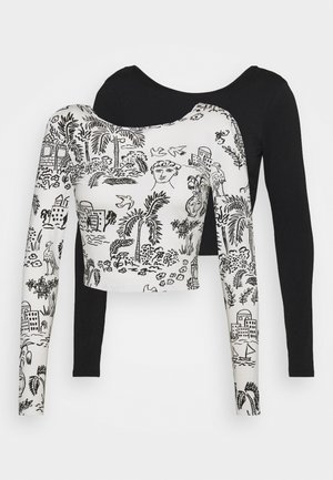 LEIA 2 PACK - T-shirt à manches longues - black dark/white light