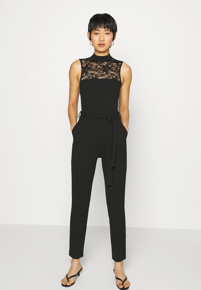OCCASION - SLEEVELESS BELTED LACE NECKLINE JUMPSUIT - Mono - black