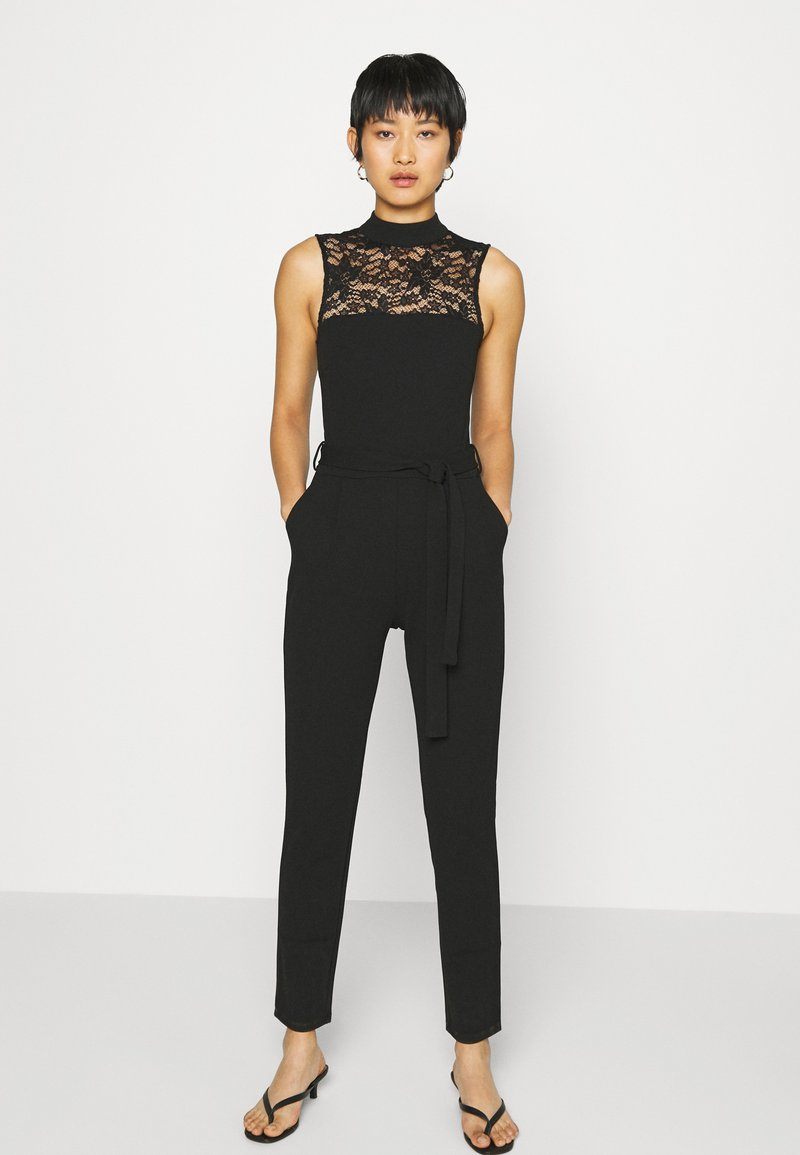 Anna Field - OCCASION - SLEEVELESS BELTED LACE NECKLINE JUMPSUIT - Jumpsuit - black