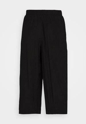 CULOTTE CRINKLE LOOK - Trousers - deep black