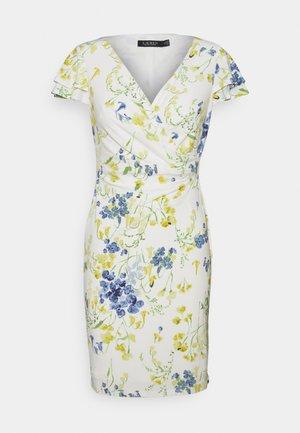 PICA SHORT SLEEVE DAY DRESS - Trikoomekko - col cream/yellow/multi