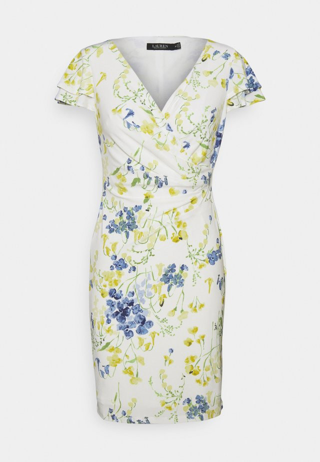 PICA SHORT SLEEVE DAY DRESS - Robe en jersey - col cream/yellow/multi