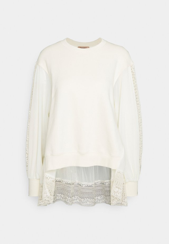 FELPA GIROCOLLO GEORGETTE - Sweater - panna