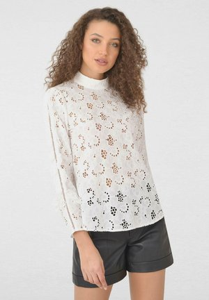 BRODERIE LACE HIGH NECK - Blouse - white