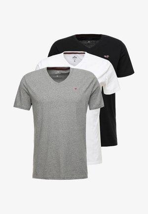 3 PACK - Jednoduché triko - black/white/grey